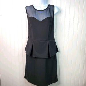 Bisou Bisou Black Mesh Pleated Peplum Dress